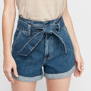 EXPRESS Shortie High Waisted Tie Jean Shorts   00
